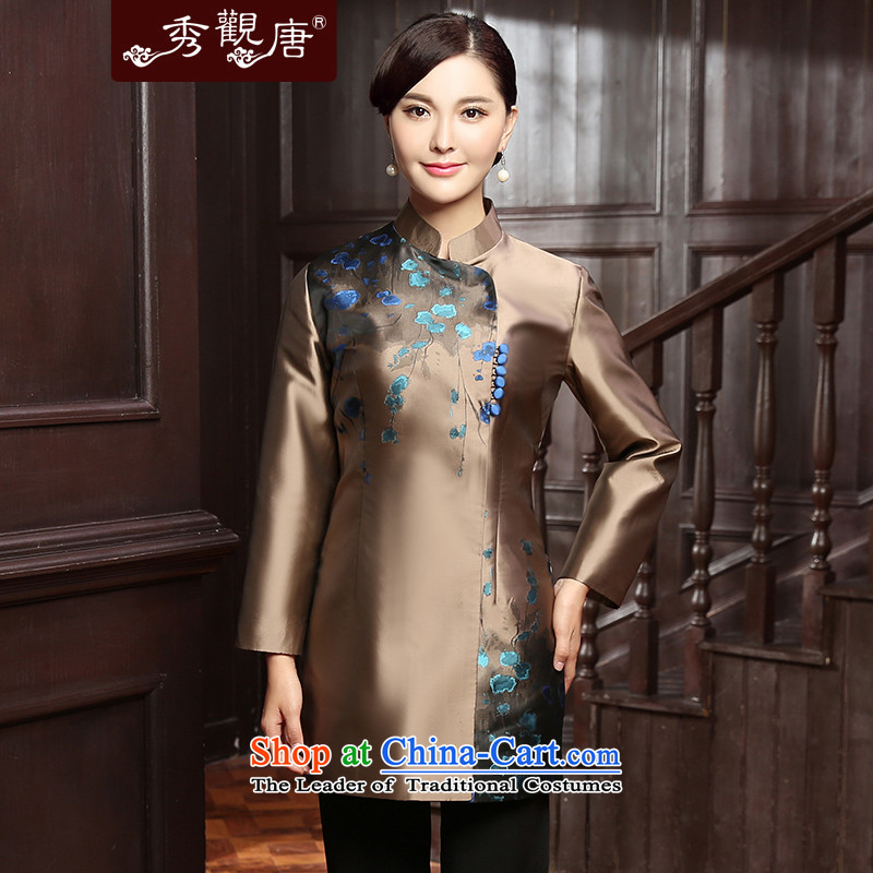 [Sau Kwun Tong] Kim Ying 2015 autumn and winter Ms. Tang dynasty new clothes Chinese improved jacket qipao TC5815?3XL Gold