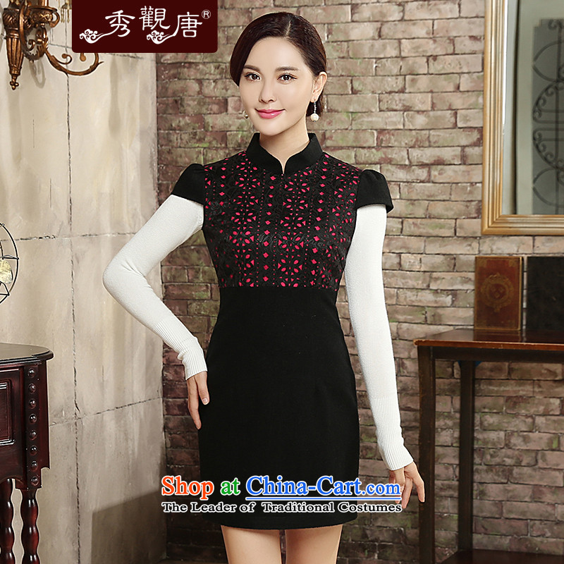 -Sau Kwun Tong- ying xiang 2015 autumn and winter new stylish retro wool is improved cheongsam dress QD5823 black and red燲L