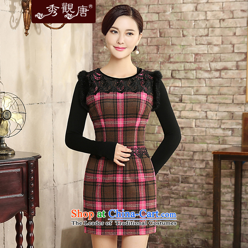 -Sau Kwun Tong- of medicines for autumn and winter 2015 new improved stylish latticed wool? cheongsam dress燪W5825燬uit燤