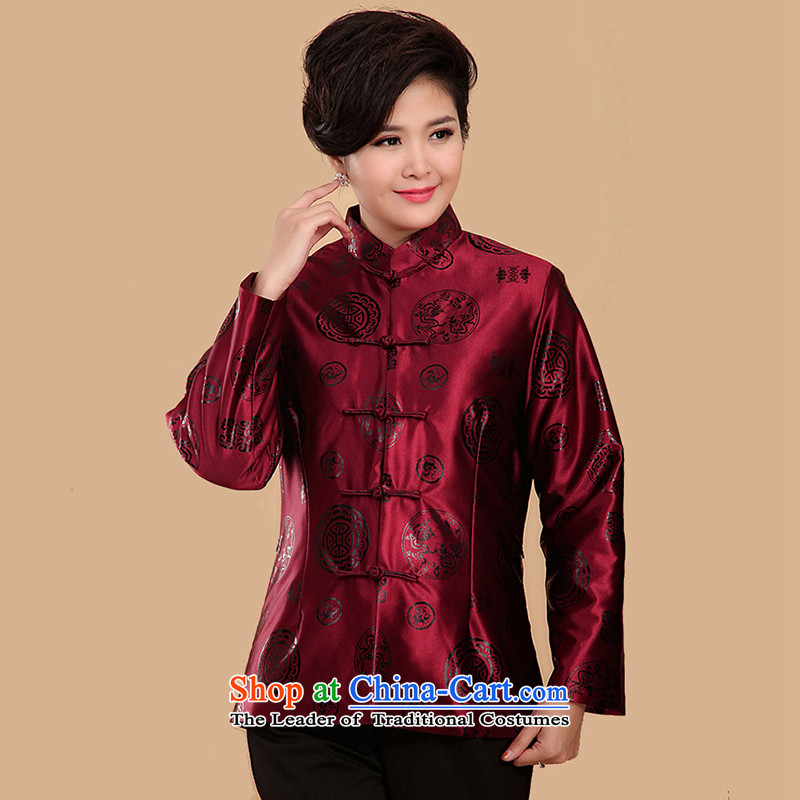 The Cave of the elderly 15 autumn and winter in the new folder cotton jacket Ms. older happy mom Tang dynasty 茫镁貌芒 N2069 purple聽4XL