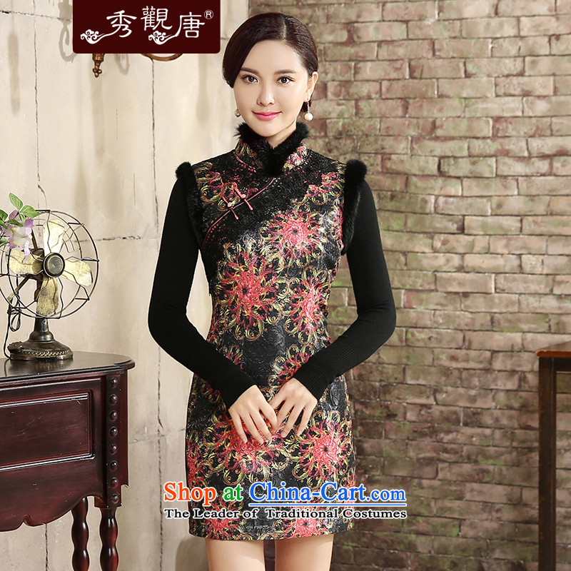 -Sau Kwun Tong- for the autumn and winter 2015 new stamp clip cotton qipao retro warm wool stitching QW5827 SUIT聽XXL