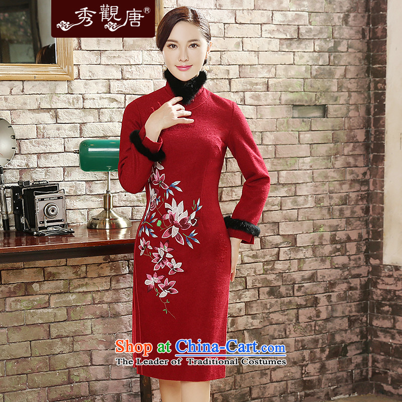 -Sau Kwun Tong- spend with Heung 2015 Fall_Winter Collections of new long-sleeved wool embroidery retro cheongsam dress? QC581 RED燲XL