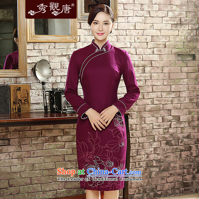 -Sau Kwun Tong- spent 2015 autumn and winter rain new_ long improved long-sleeved wool cheongsam dress retro QC5819 PURPLE燣