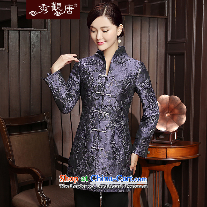 [Sau Kwun Tong] Cayman population by 2015 autumn and winter new Tang Blouses Chinese improved female jackets TC5812 Ms. purple�XL