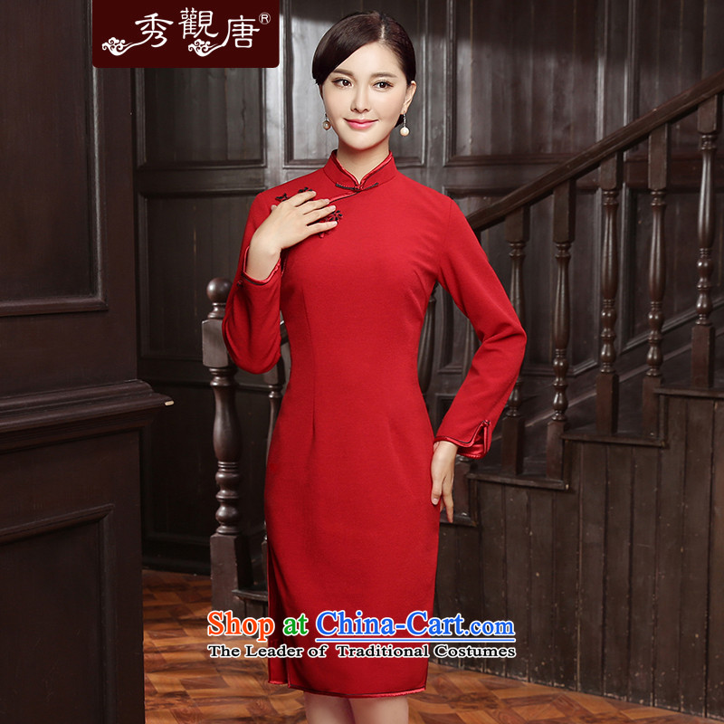 -Sau Kwun Tong- Chien-ying 2015 Fall_Winter Collections New Pure Color long-sleeved retro style, long skirt QC5817 QIPAO RED聽M