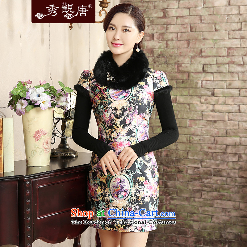 -Sau Kwun Tong- take collective 2015 autumn and winter new improved Stylish retro cotton wool collar qipao folder dresses QD5826 SUIT聽L
