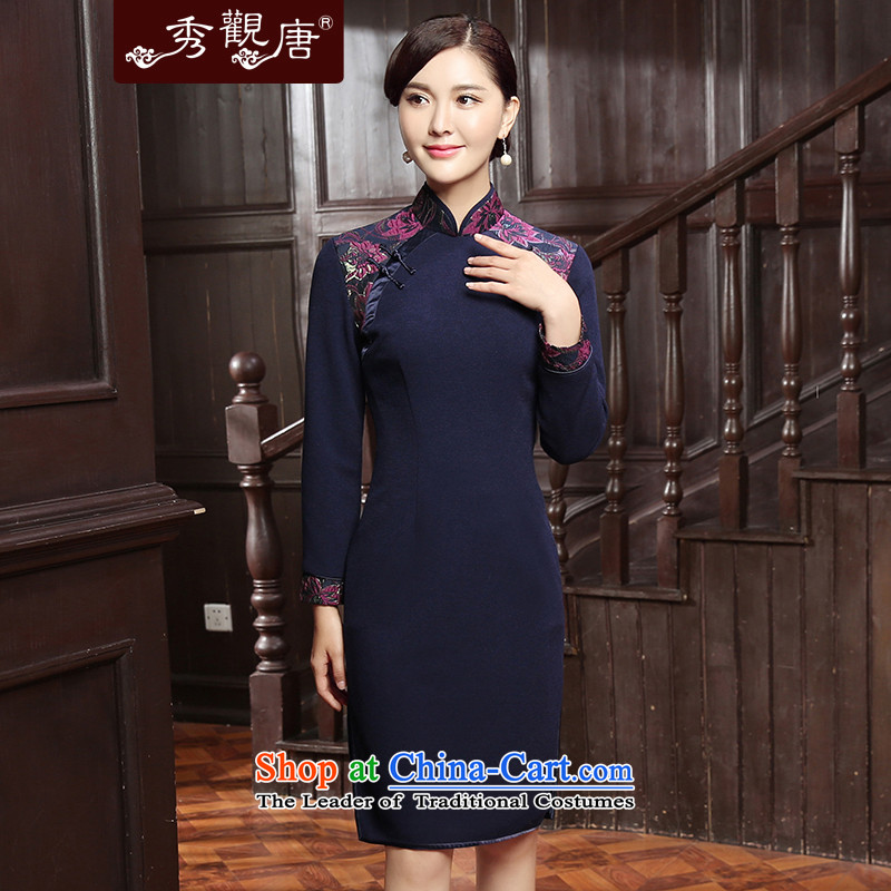-Sau Kwun Tong Yue-hsiang- 2015 Autumn new of daily retro style qipao republic of korea improved long-sleeved QC5831 BLUE燣