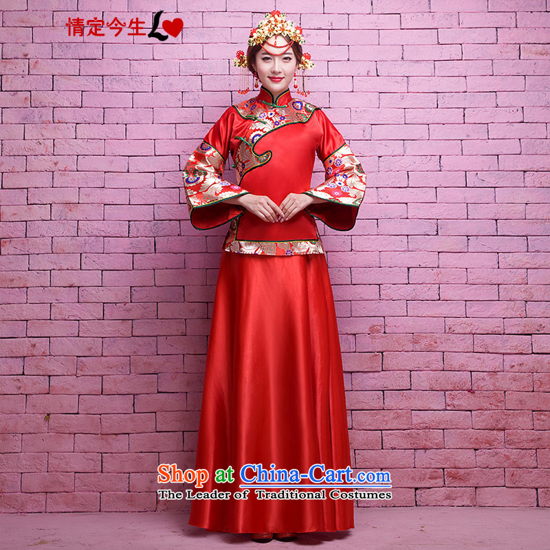 Love of the life of the new 2015 retro collar slotted detained Chinese long marriages bows qipao red ethnic-soo kimono wedding dress red tailor-made exclusively concept Message Size