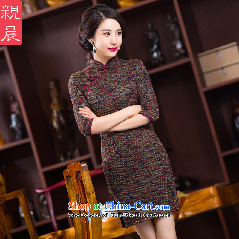2015 Autumn and winter new cheongsam dress daily in Sau San cuff stylish improved gross short of what knitting dress photo, color?2XL