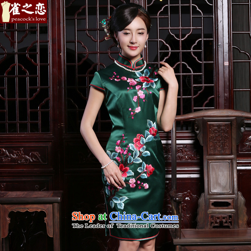 Love of birds spend Athena?2015 Autumn Snapshot Loaded new heavyweight silk manually push short-sleeved qipao?QD924 embroidered?figure?XL