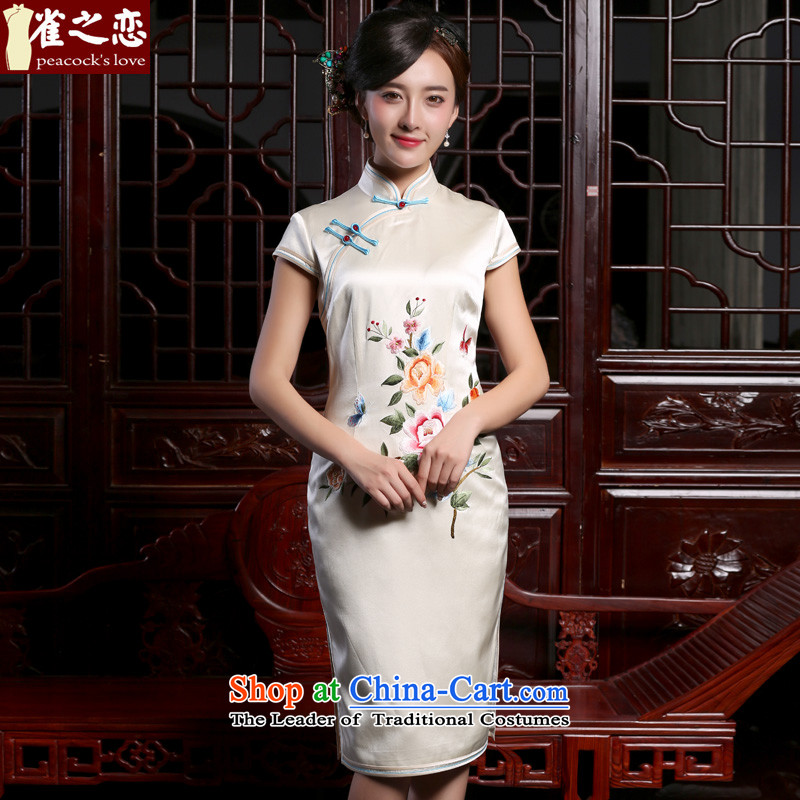 Love of birds Chiu dyeing�new) Autumn 2015 heavyweight silk embroidery on pushing a retro short of silk cheongsam dress� QD930�figure�S