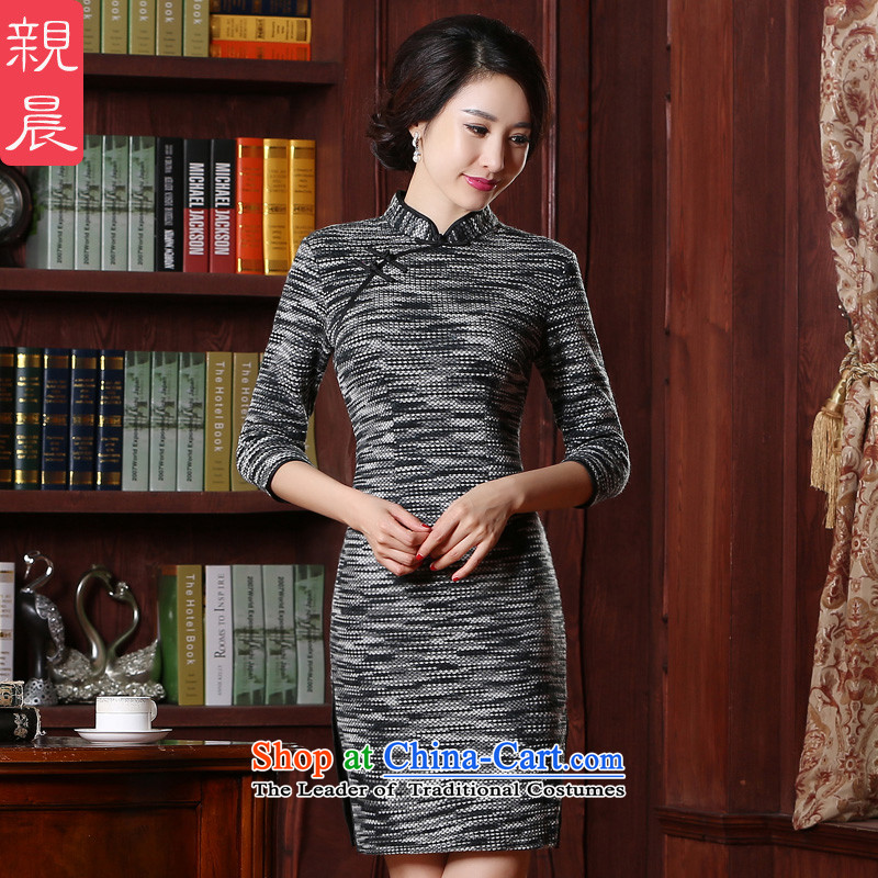 The cheongsam dress 2015 autumn and winter new stylish improved short of daily retro Sau San knitting gross Ms.? dresses picture color�2XL