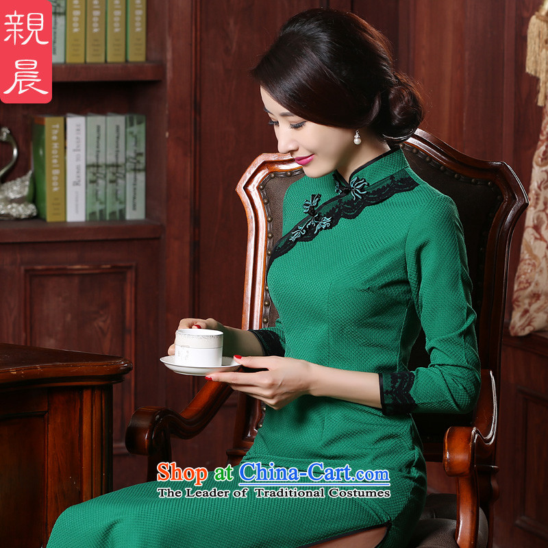 Retro-day cheongsam dress stylish Sau San improved long skirt Fall_Winter Collections 2015 new large green?L