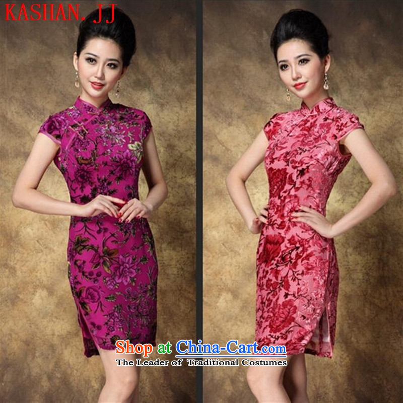 Mano-hwan's 2015 new summer, the improvement of short retro scouring pads on qipao stamp Sau San dresses�in 1522 Red�XXL