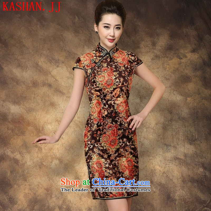 Mano-hwan's 2015 new elastic Kim scouring pads poster Couture fashion short-sleeved short cheongsam picture color燲L