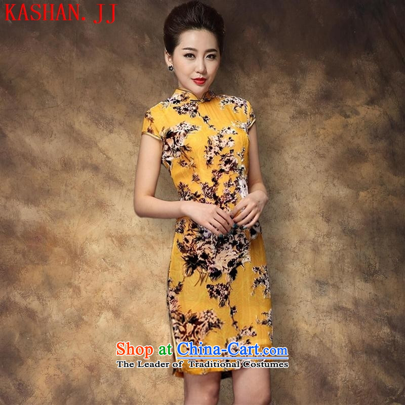 Mano-hwan's 2015 new short-sleeved gray velour robes and stylish improved qipao gown Sau San picture color�XXL
