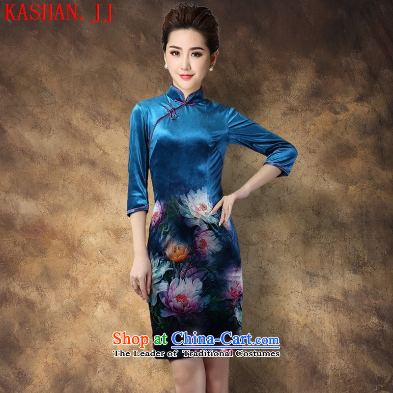 Mano-hwan's 2015 Summer stylish cheongsam dress silk dresses scouring pads short-sleeved mother cheongsam wedding dress red�XL