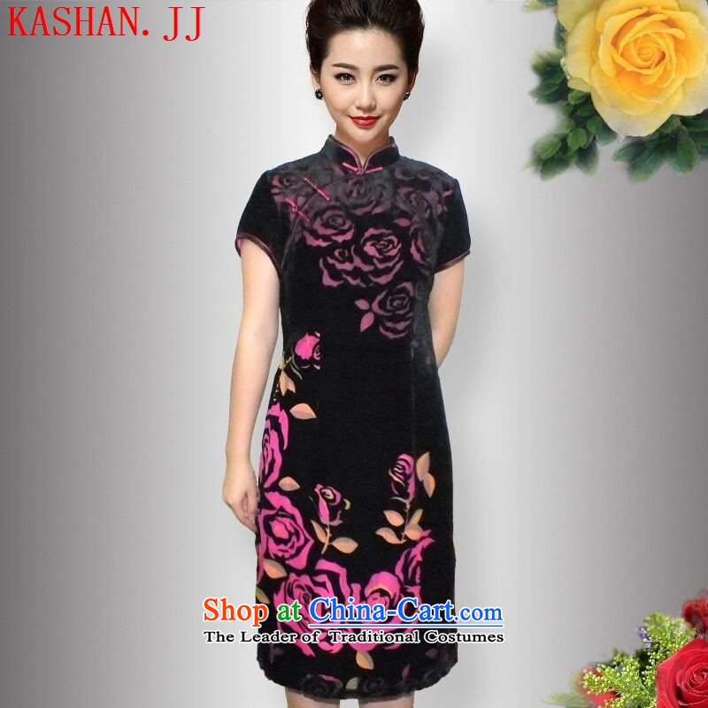 Mano-hwan's Summer 2015 New Silk Velvet cheongsam dress cheongsam red roses�L