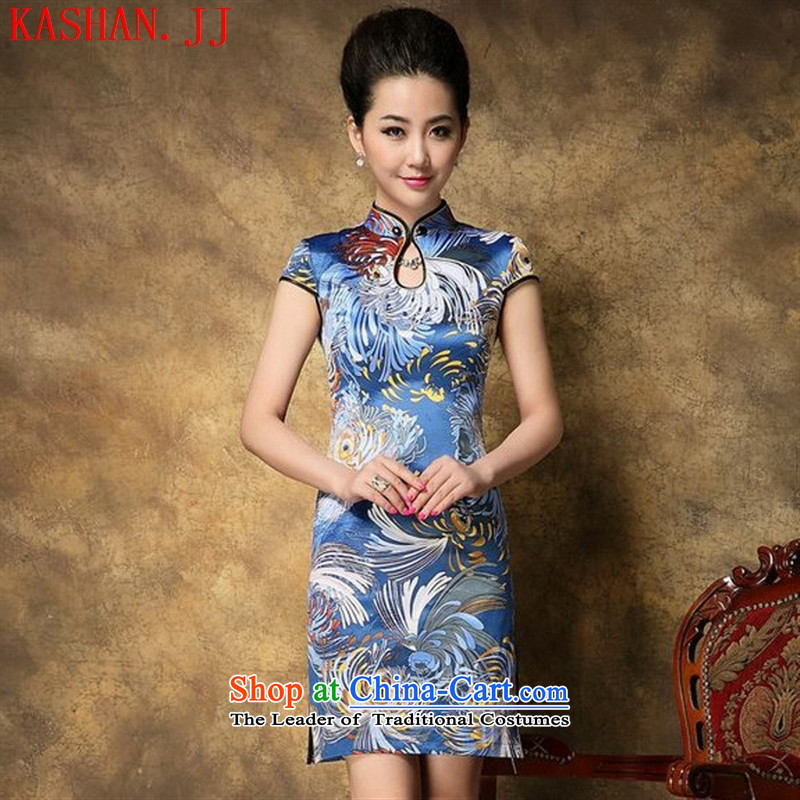 Mano-hwan's 2015 new products for autumn and winter temperament female qipao skirt retro improved cheongsam dress in daisy-?L