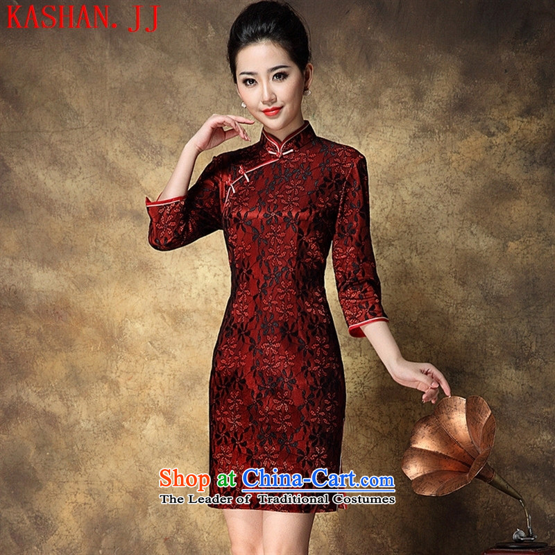 Mano-hwan's European Women's stylish qipao site retro Tang Dynasty Palace Chinese embroidery lace cheongsam picture color�XL