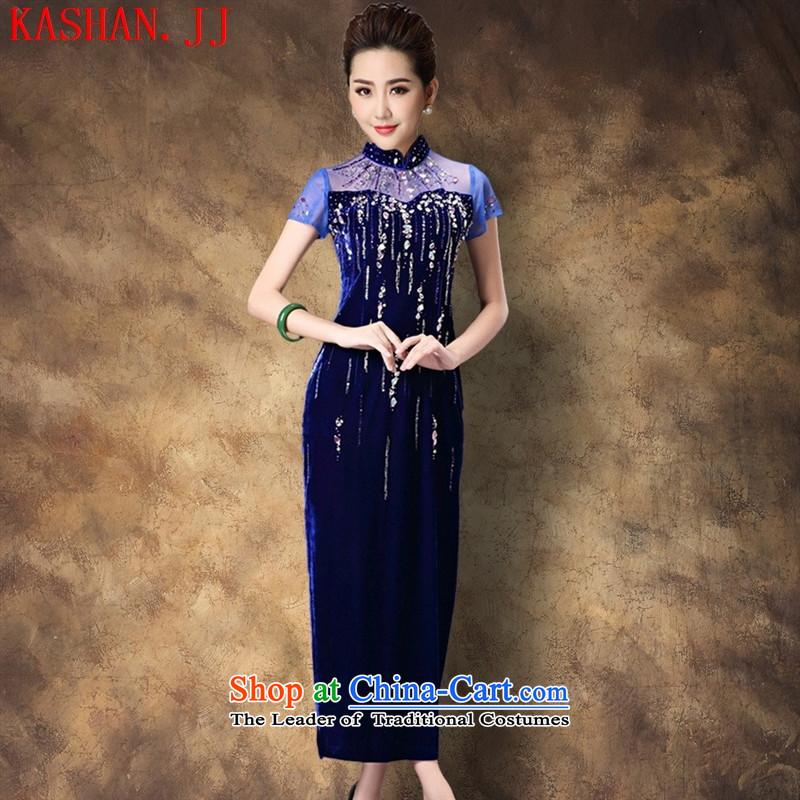 Mano-hwan's 2015 new products for autumn and winter temperament female qipao skirt larger mother retro improved cheongsam dress purple flowers ironing?M