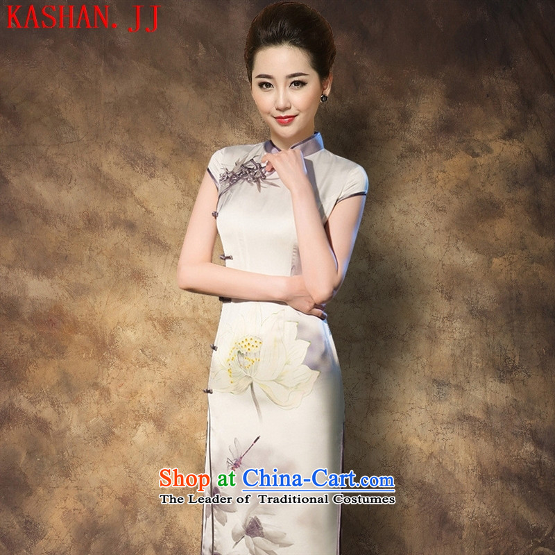 Mano-hwan's 2015 Summer Silk Cheongsam retro long silk dress dresses large clothing as figure?L