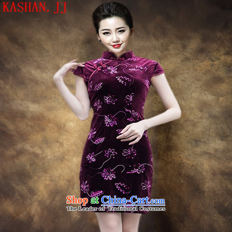 Mano-hwan's Spring and Autumn New Pearl embroidered engraving short-sleeved short of qipao gown Stylish retro velvet cheongsam dress figure�L