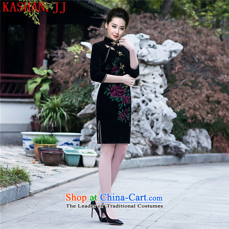 Mano-hwan's new fall ethnic scouring pads in the Sau San cuff qipao skirt Stylish retro short of improved cheongsam dress dresses figure燣