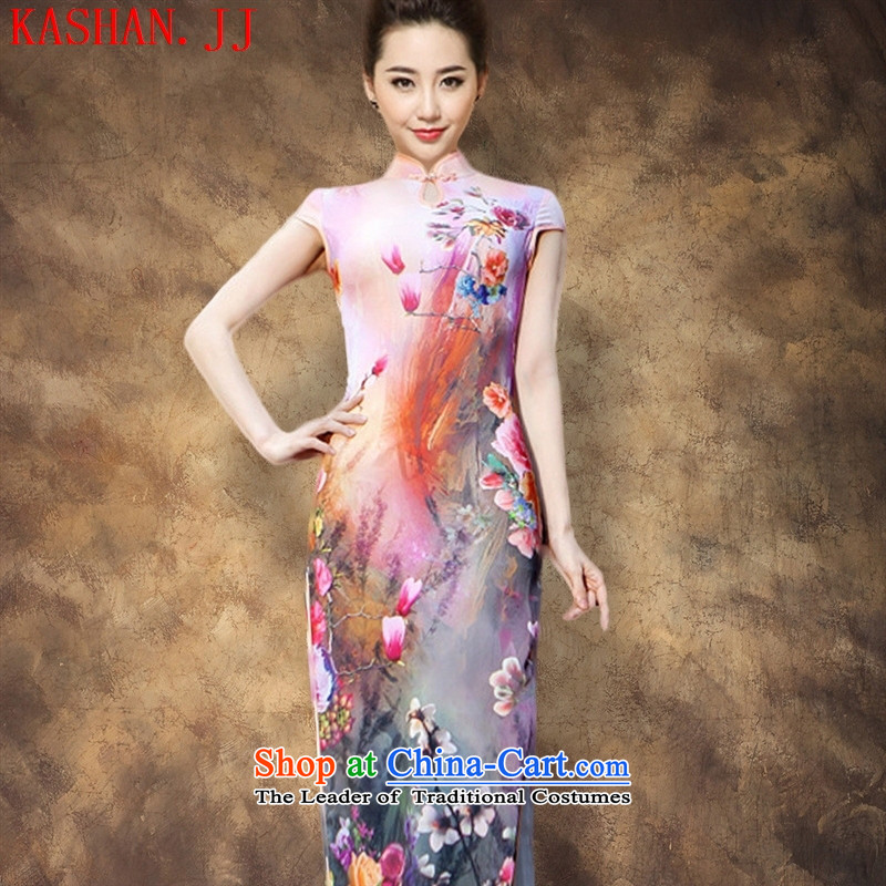 The spring and autumn's new-hwan stylish dresses retro improved cheongsam dress Sau San temperament long qipao gown model?XXL