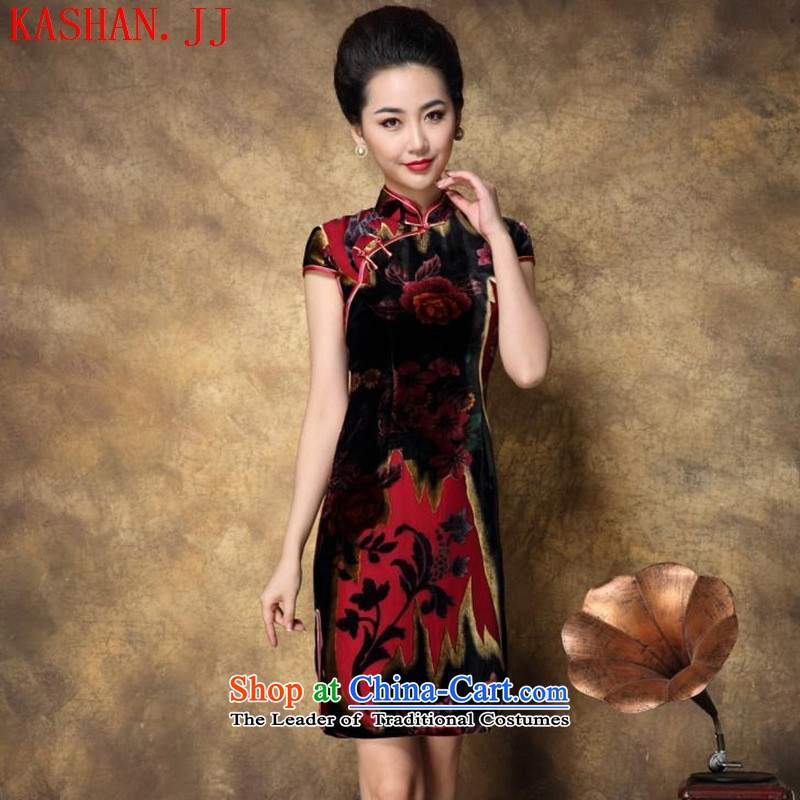 Mano-hwan's Summer 2015 New Silk Velvet cheongsam dress Tang blue?L