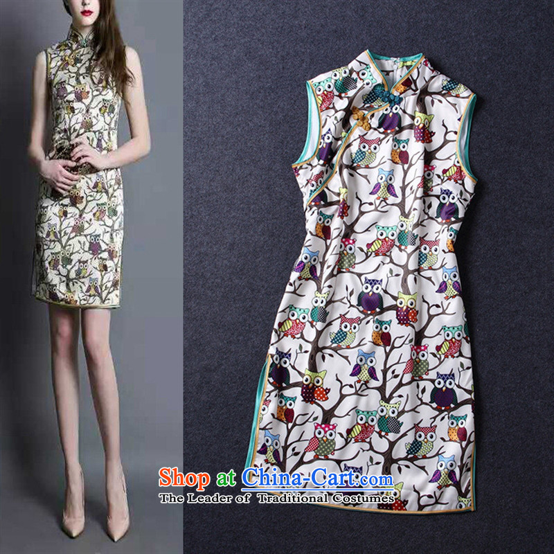 The Black Butterfly boutique female new Chinese style gentle ?��?? improved collar disc detained Sau San cheongsam dress photo color?M