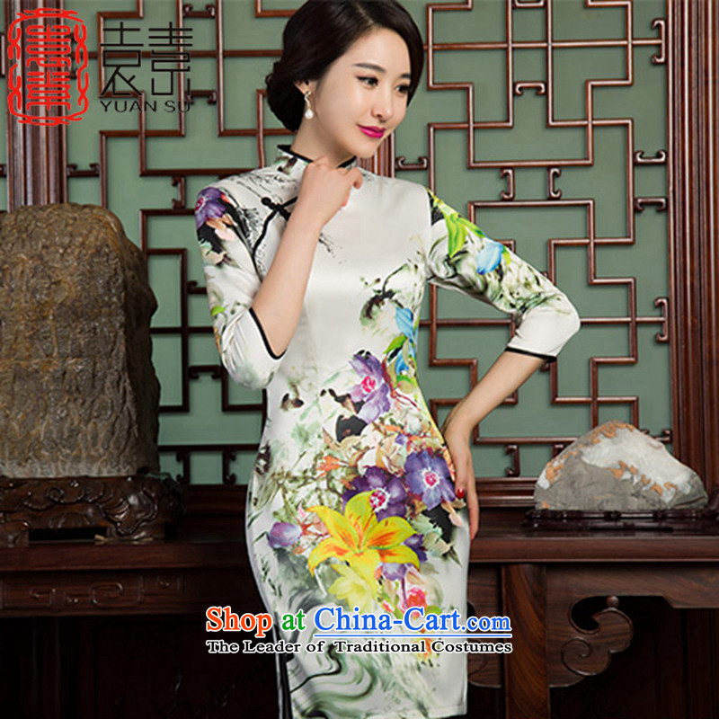 Yuan of heart in Arabic retro qipao autumn 2015 replacing stylish 7 cuff double improved cheongsam dress cheongsam dress new Ms. SZ3C001 picture color M