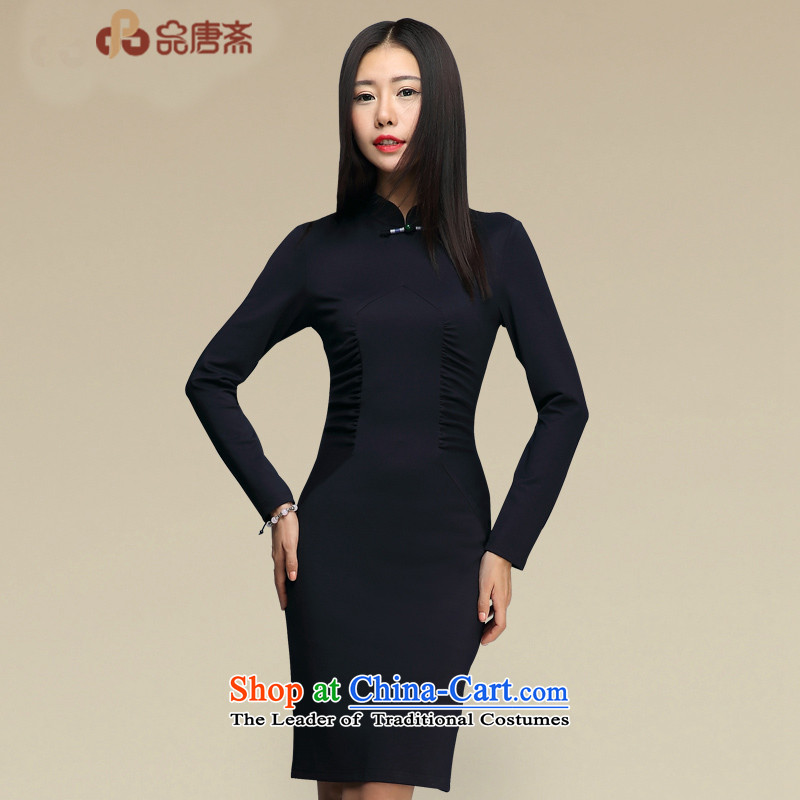 No. of Ramadan cheongsam dress Tang聽2015 new autumn and winter long-sleeved fashion, improvement of Qipao Sau San short skirt deep blue聽XL