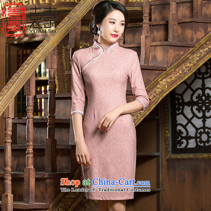 Yuan of a red�15 skirt new long-sleeved qipao improved cheongsam dress woolen qipao Chinese Winter?燪D310 dress爌hoto color燲L