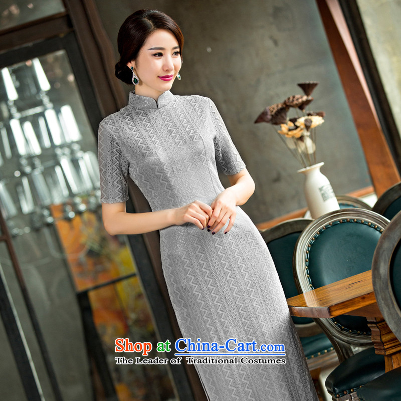 Dan breathing new for women lace qipao skirt retro Chinese collar improved graphics and slender qipao Sau San dresses Yen Lok? M