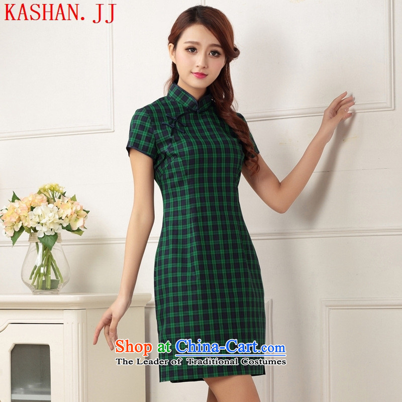 The Republic of Korea's non-literary and art nouveau new liberal improved qipao ramp Flap Disc short-sleeved detained Chinese dresses students dress photo color聽XL