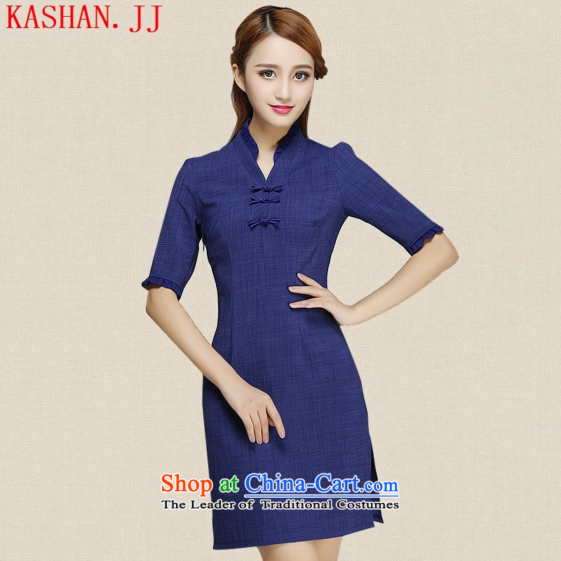 Mano-hwan's 2015 new summer cotton linen dresses skirt retro daily improved Sau San qipao cheongsam dress Blue?M