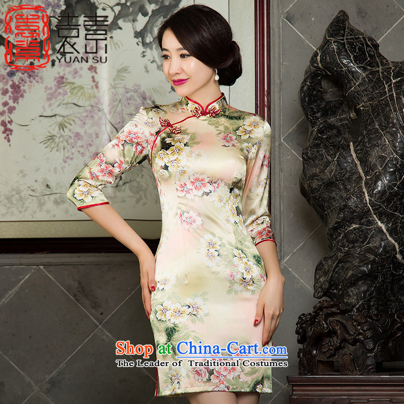 Yuan of pear blossom scent of燬ilk Cheongsam autumn 2015 in cuff retro cheongsam dress new improved cheongsam dress ethnic燬Z3S007 female爌icture color燤