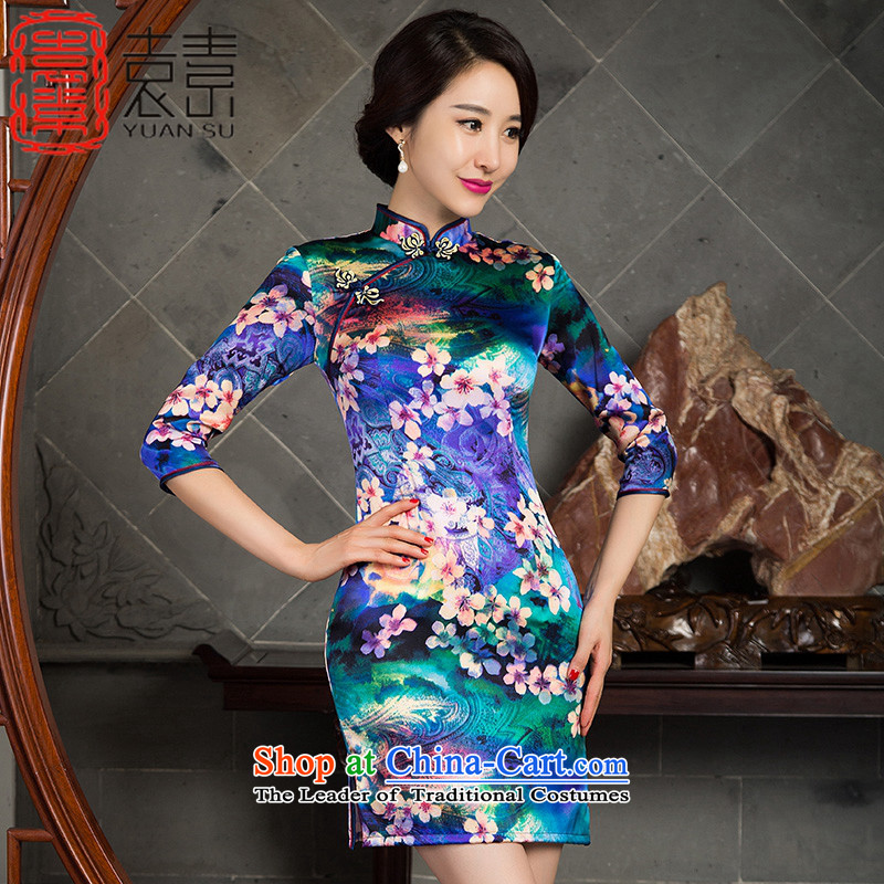 Mr Yuen Cheong Wa book of?2015 heavyweight silk cheongsam dress new 7 Cuff Stylish retro herbs extract qipao qipao improved?SZ3S008 dress?photo color?XL