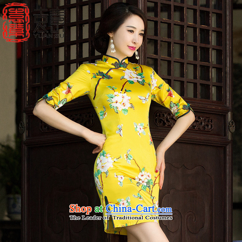 Mr Yuen Yuen Wong?2015 Autumn of qipao improved daily retro fitted cheongsam dress the new tray clip cheongsam dress manually 7 Cuff?Color Picture SZ3C009?XXL