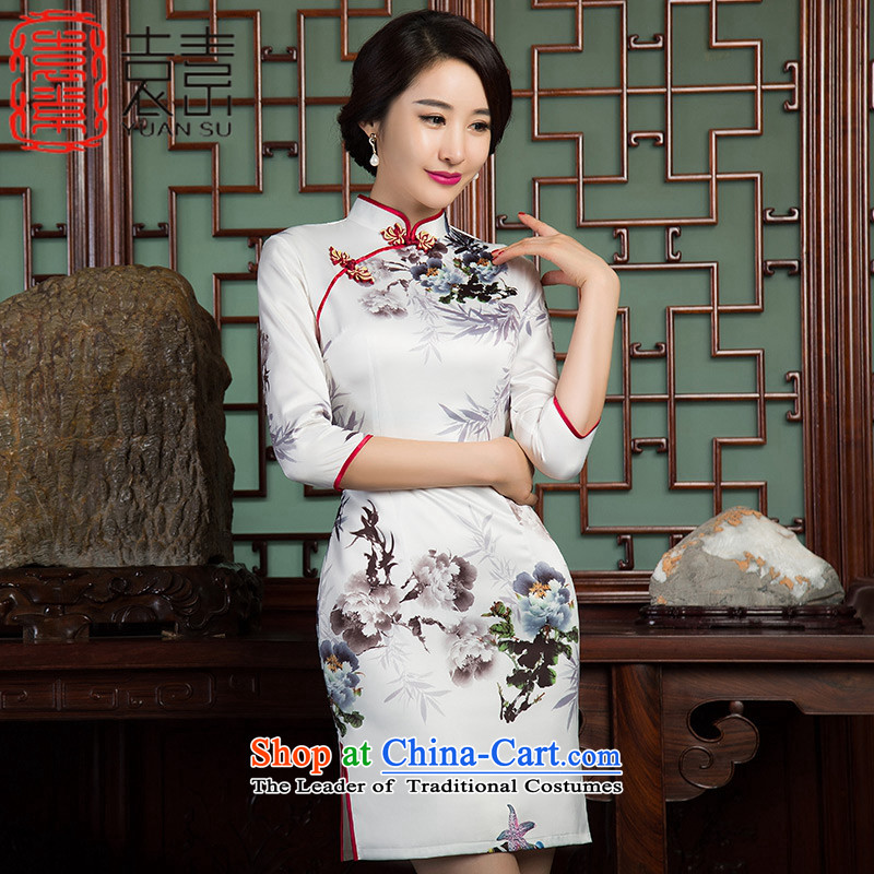 Yuan of sub ink bamboo new autumn replacing qipao improved retro style 7 cuff cheongsam dress, improved cheongsam dress?SZ3C010?picture color?S