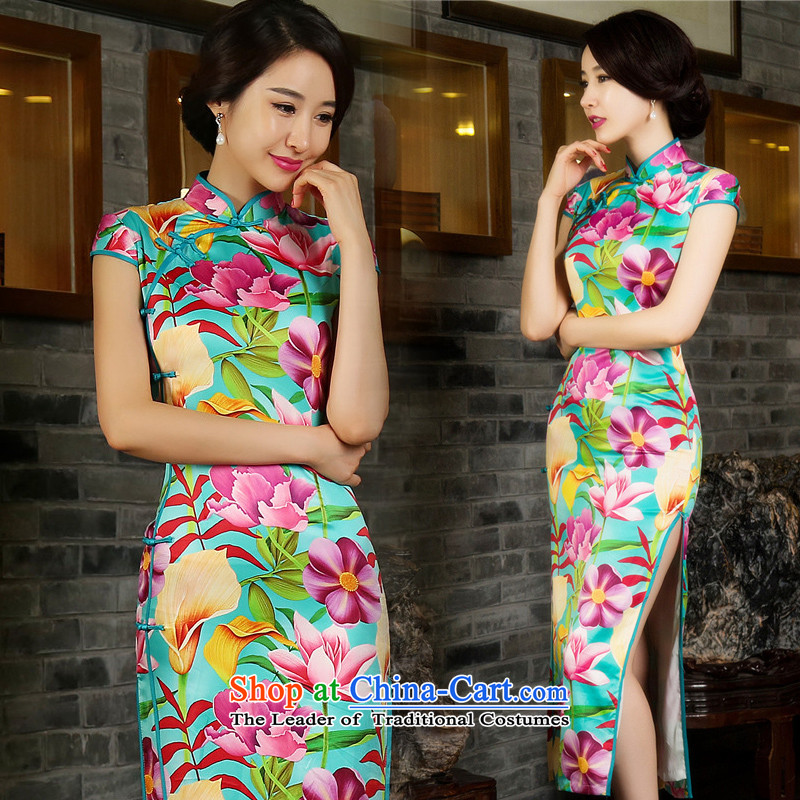 2015 Summer skirt qipao improved heavyweight Silk Dresses Stylish retro graphics thin Sau San female qipao and sexy retro ��fuguihua?XL