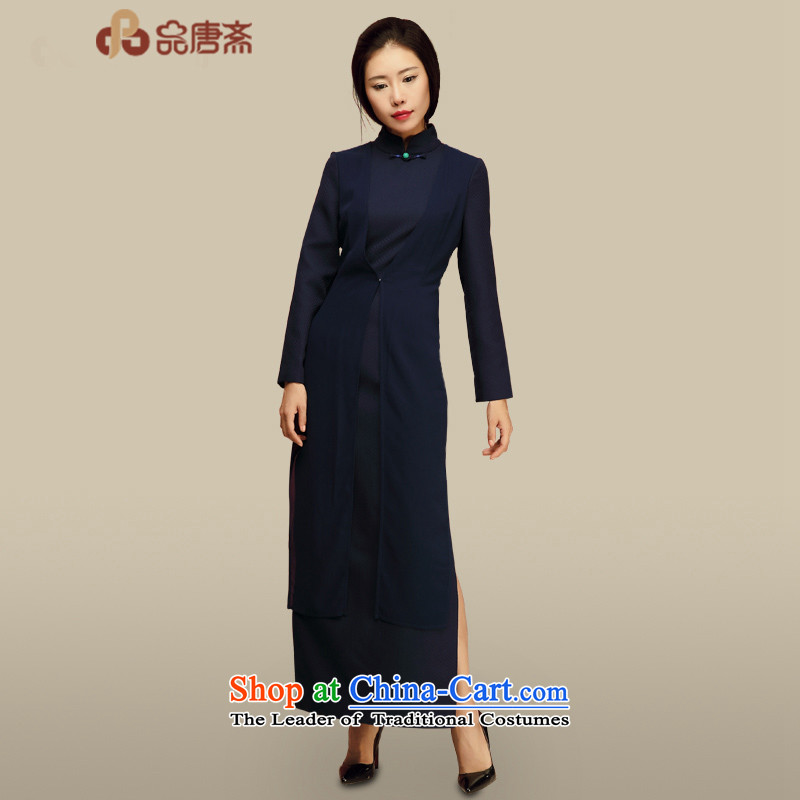 No. Tang Ramadan cheongsam dress?2015 autumn and winter new women's day-to-day long-sleeved retro style Tang dynasty cheongsam dress improved dark blue?L