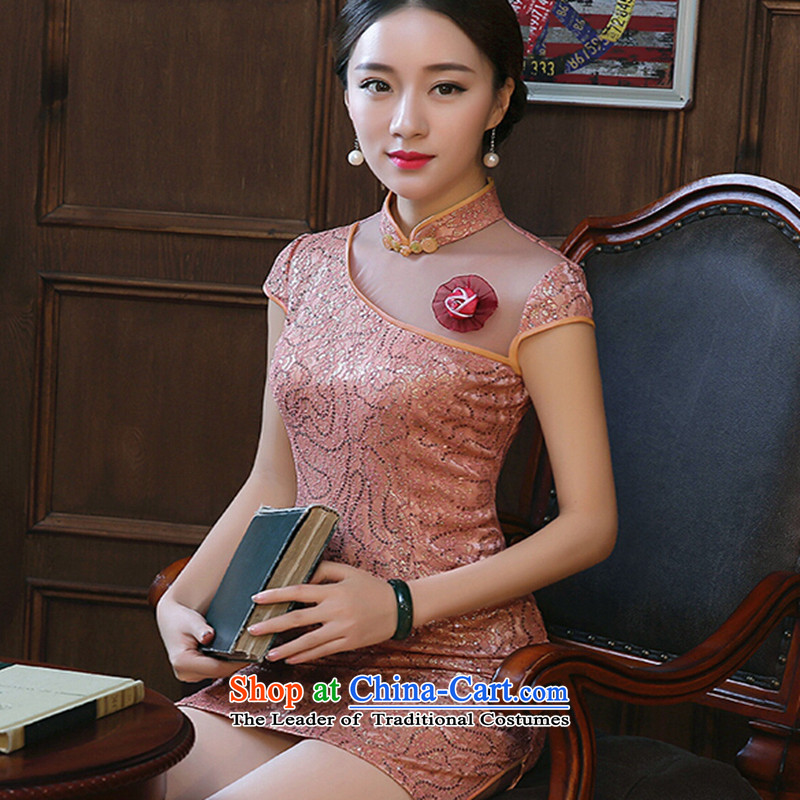 Susan Sarandon Zaoyuan cheongsam dress card 2015 spring_summer load new improved Stylish retro lace qipao daily Sau San short skirt women, warm pink聽XL