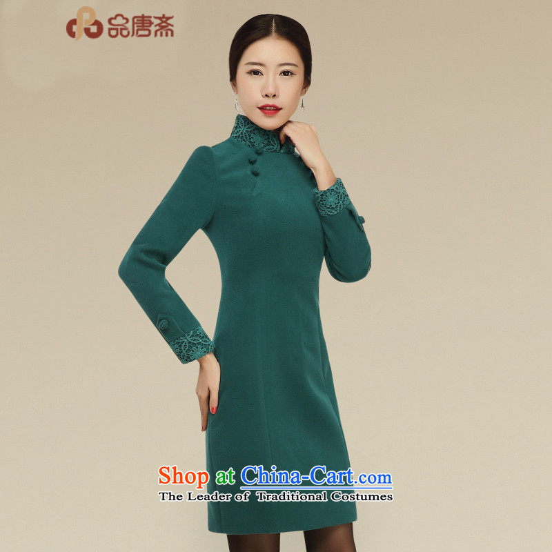 No. of Ramadan short qipao Tang�2015 new autumn and winter long-sleeved Chinese improved Stylish retro dresses dark green�M