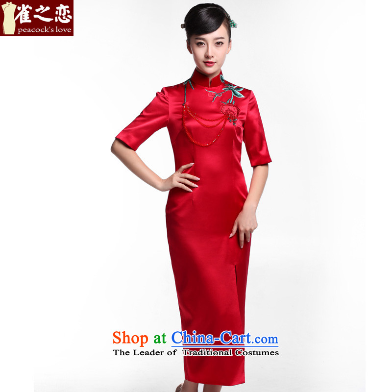 Love of birds deep improved chinese red color marriages bows with silk embroidered dress qipao燪D912 Sau San爁igure燲L