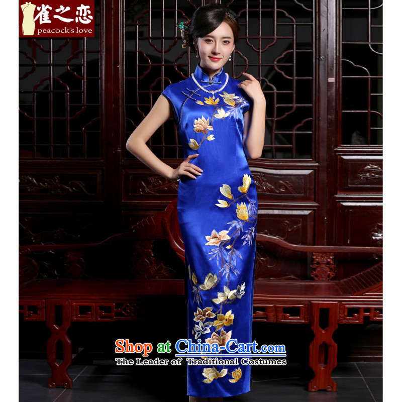 Love of birds intended by the�autumn of 2015, with new royal blue embroidery heavyweight silk cheongsam dress�QD778 long�figure�XL
