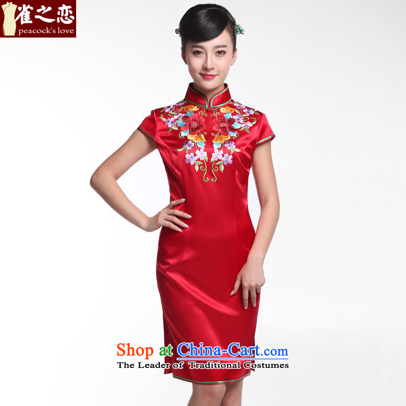 Love of birds three ikuishi聽2015 new red qipao bows services marriage heavyweight silk embroidery ironing drill qipao QD951 figure聽L