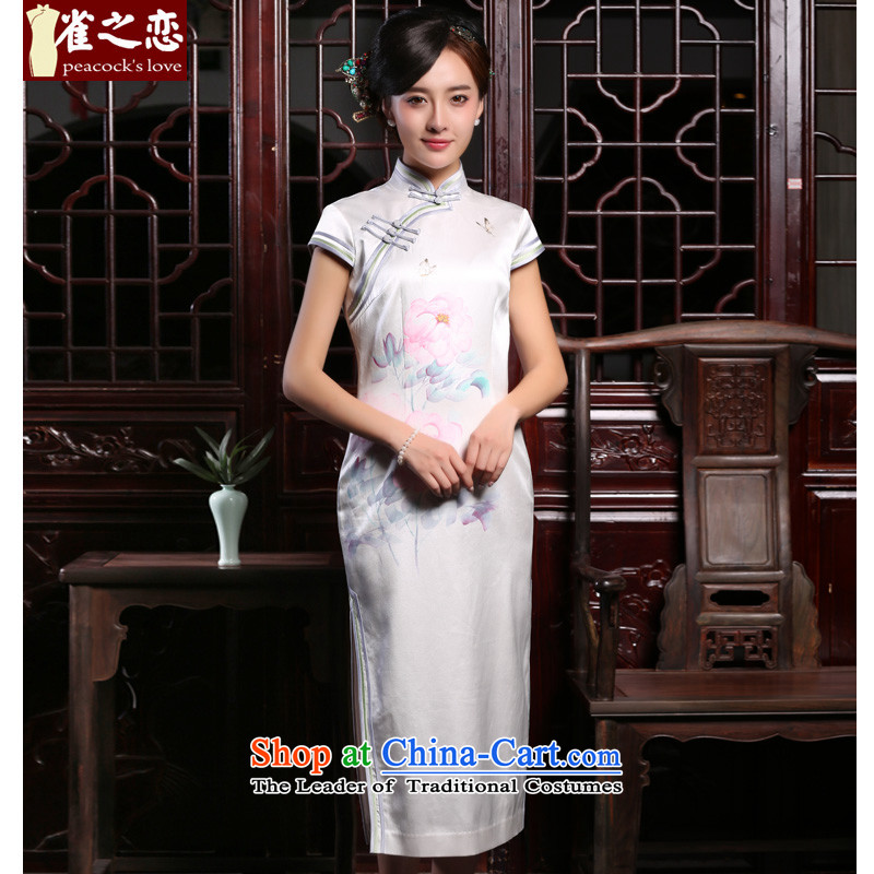 Love birds Che-ying autumn 2015 new traditional hand-painted retro improved long heavyweight Silk Cheongsam QD801 White XL