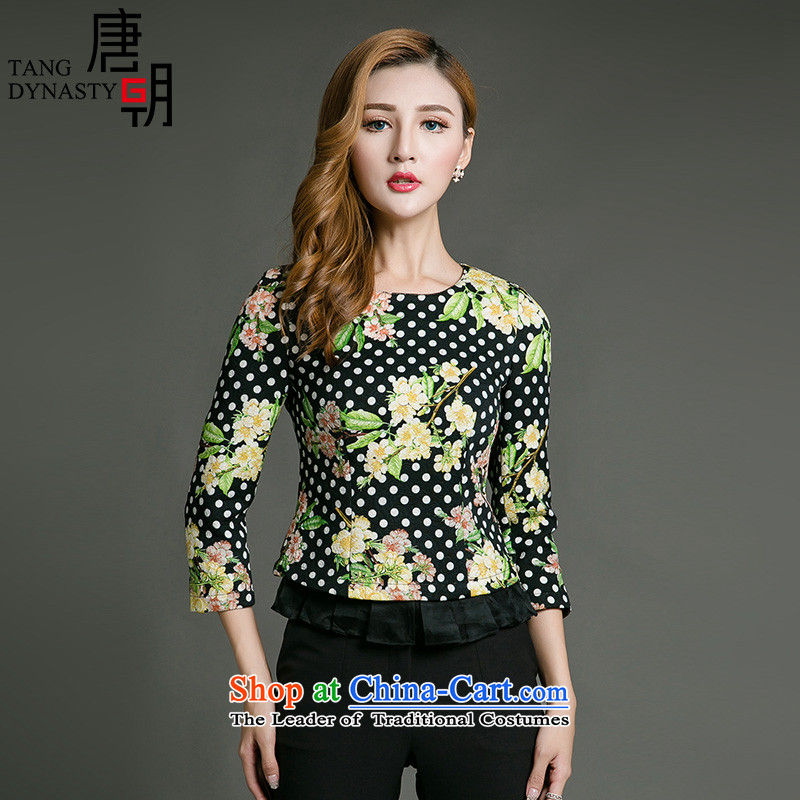 The Tang dynasty?2015 Autumn new ethnic stamp wide swinging under     t-shirt long-sleeved T-shirt TQA42232 Girl Smiling (yellow) Elegant S